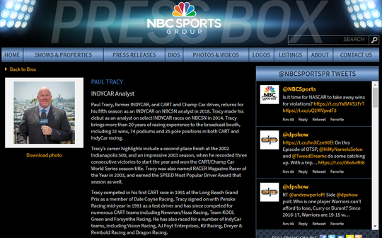 Paul Tracy's bio page is still active on the web site of NBC Sports Group.