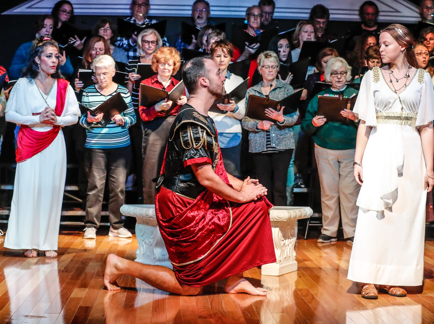 The cast and crew of Dido & Aeneas perform during a dress rehearsal for Fishers Music Works' Projekt: Opera rehearsal at Ji-Eun Lee Music Academy in Fishers Ind. on Thursday, Nov. 1, 2018.