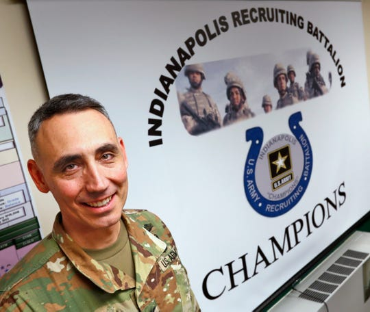 U.S. Army Third Recruiting Brigade Commander Col. Eric Lopez stands in the Indianapolis HQ at Fort Benjamin Harrison, Friday, Nov. 9, 2018.