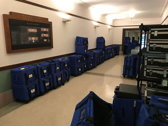 Ballot boxes in the basement of the Hinds County Courthouse