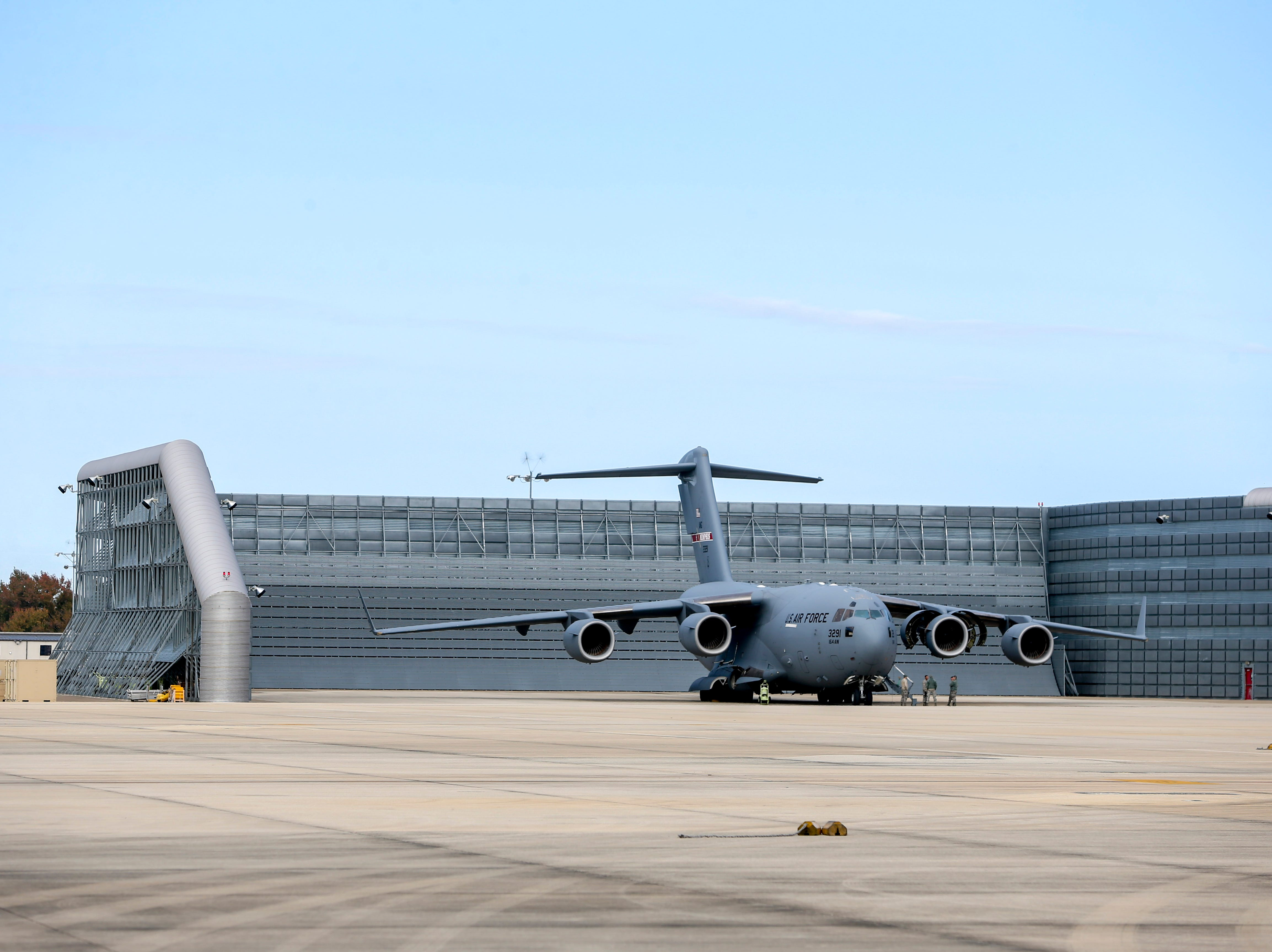 A C-17 can be seen in an engine testing facility during the annual Bosslift event put on by Employer Support of the Guard and Reserve (ESGR) and the Tennessee National Guard at 164th Airlift Wing in Memphis, Tenn., on Thursday, Nov. 8, 2018.