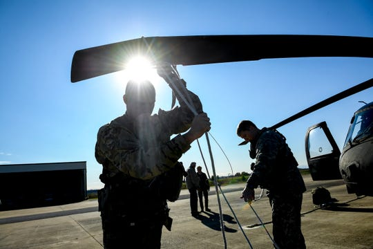 A National Guardsmen rotates a blade during the annual Bosslift event put on by Employer Support of the Guard and Reserve (ESGR) and the Tennessee National Guard at Army Aviation Facility in Jackson, Tenn., on Thursday, Nov. 8, 2018.
