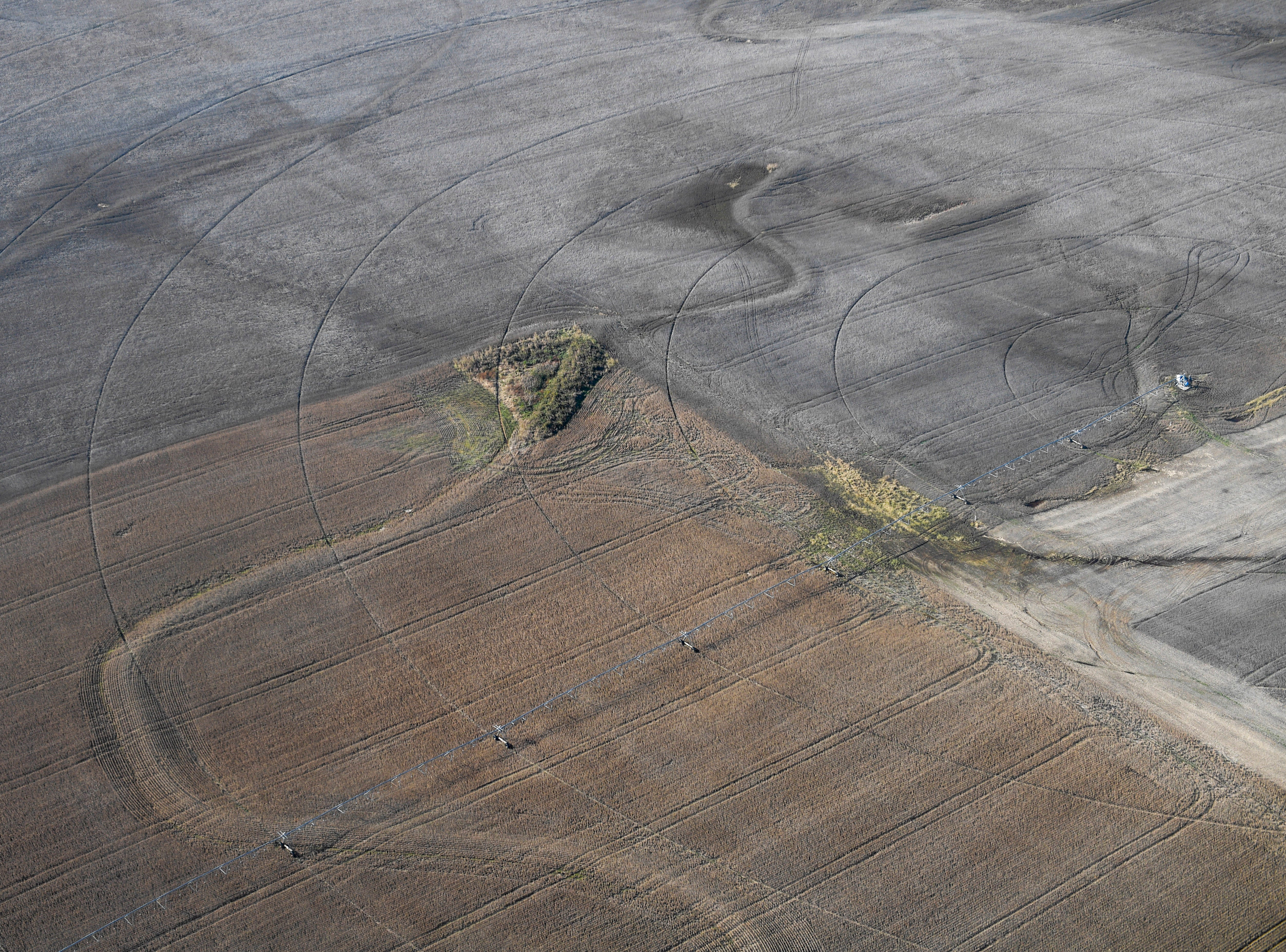 From this aerial view the lines imprinted on a crop field can be seen during the annual Bosslift event put on by Employer Support of the Guard and Reserve (ESGR) and the Tennessee National Guard at 164th Airlift Wing in Memphis, Tenn., on Thursday, Nov. 8, 2018.