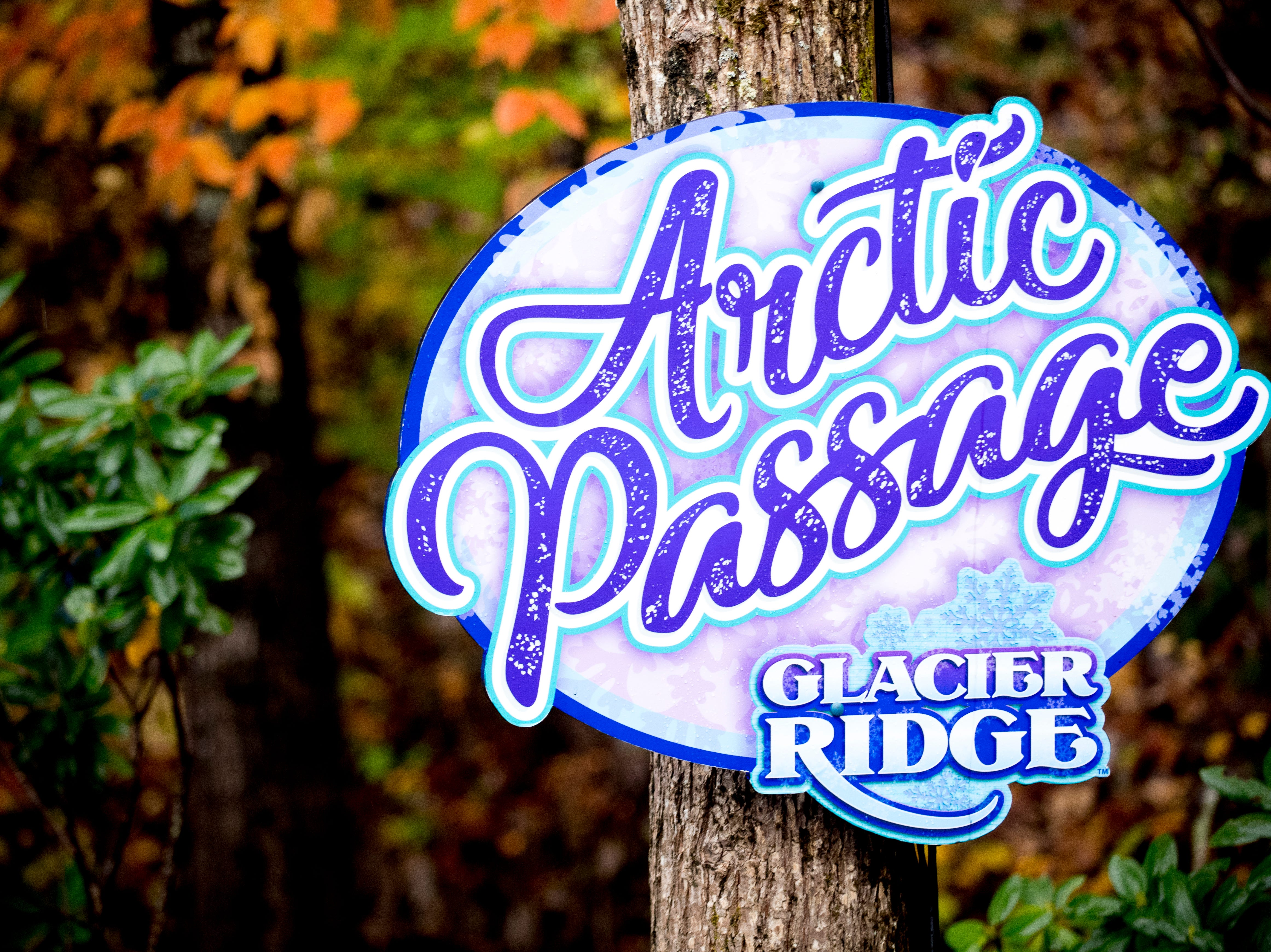 The sign for the Arctic Passage light display tunnel during media day for a behind-the-scenes look of the Glacier Ridge light display at Dollywood in Pigeon Forge, Tennessee on Friday, November 9, 2018. Glacier Ridge features several new lighting displays, including a 50-ft. tall animated tree, the all new Arctic Passage and the Northern Lights.