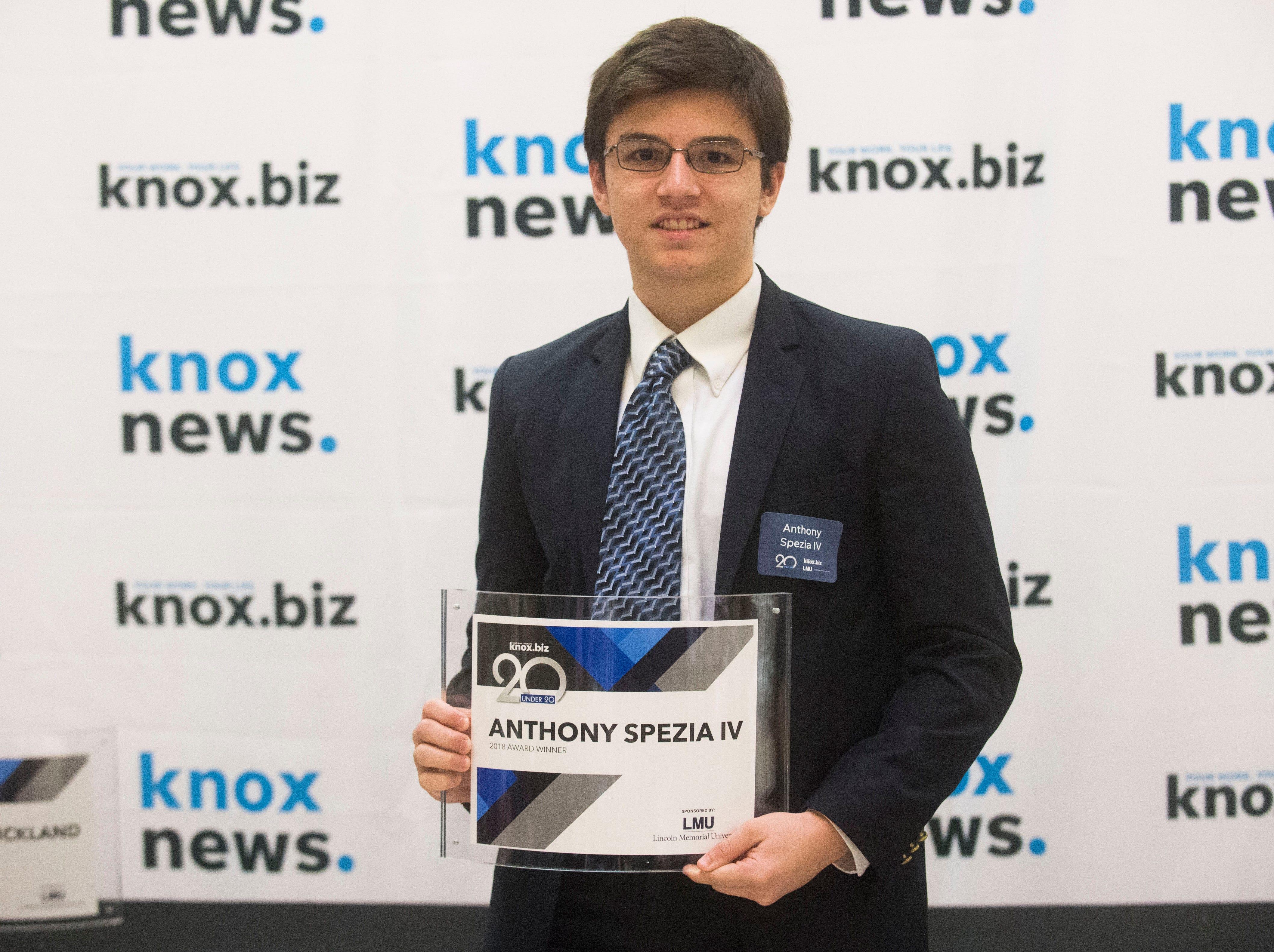 Anthony Spezia IV, 20 under 20 award recipient.