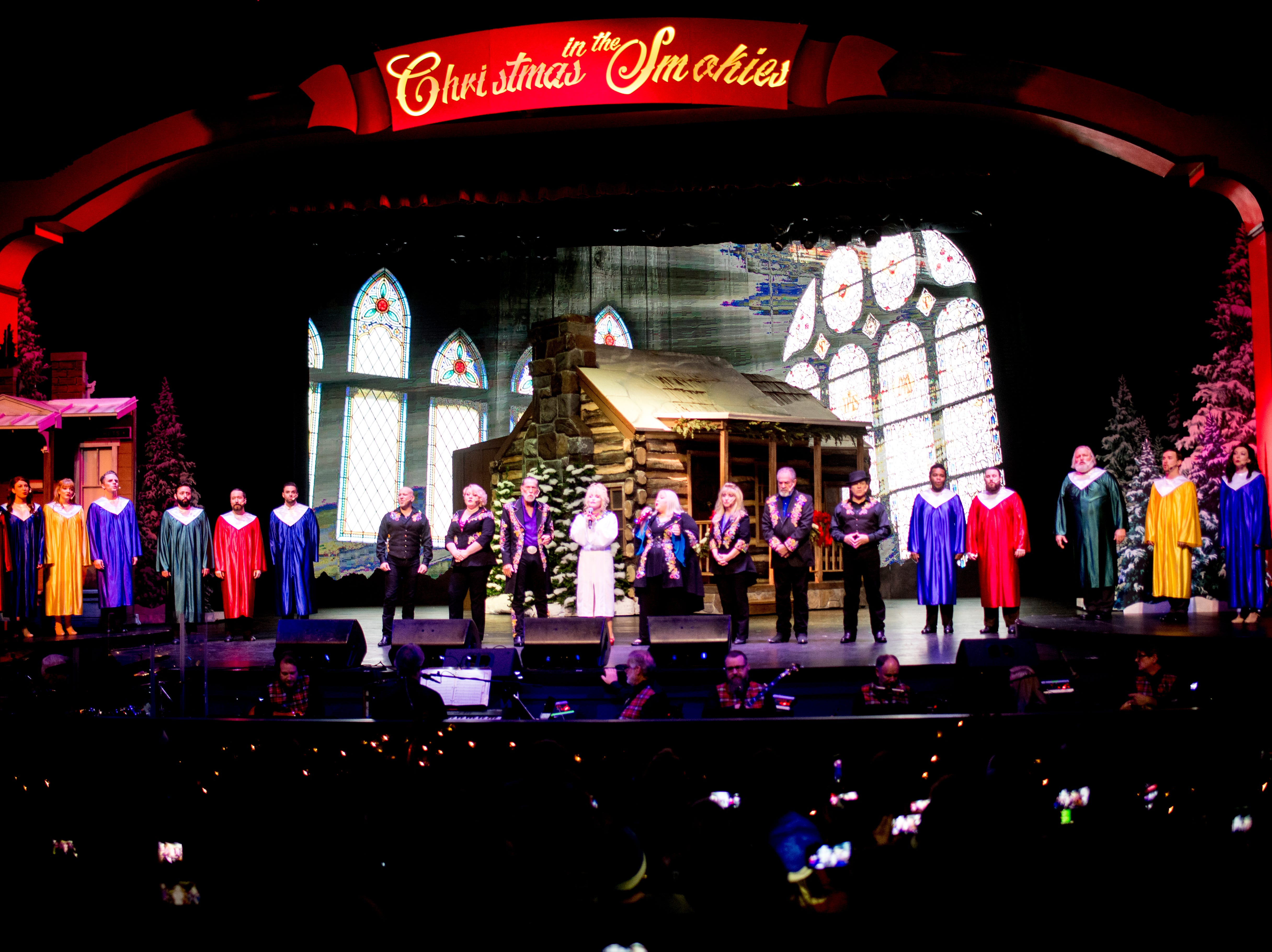 The cast of the Christmas in the Smokies show performs at Dollywood in Pigeon Forge, Tennessee on Friday, November 9, 2018. Glacier Ridge features several new lighting displays, including a 50-ft. tall animated tree, the all new Arctic Passage and the Northern Lights.