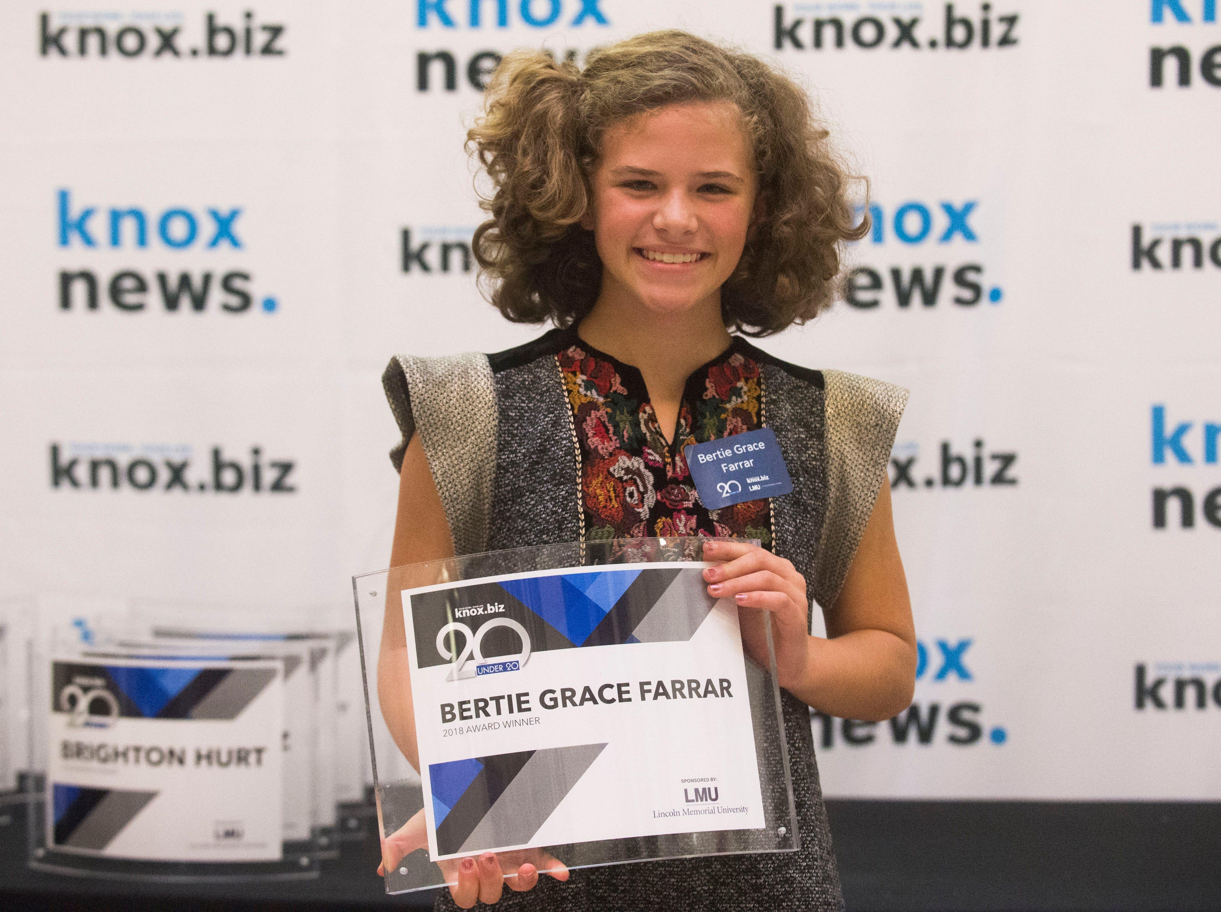 Bertie Grace Farrar, 20 under 20 award recipient.