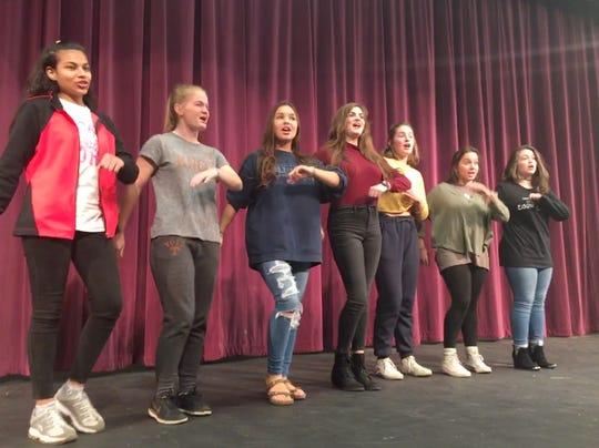 "Devanshi Barot, Kayley Siler, Maddy Dishner, Anna Jons, Alex Rysewyk, Katie Thorpe and Leila Dillon strut their stuff in a rehearsal for ""Boogie Woogie Bugle Boy."" November 7, 2018."