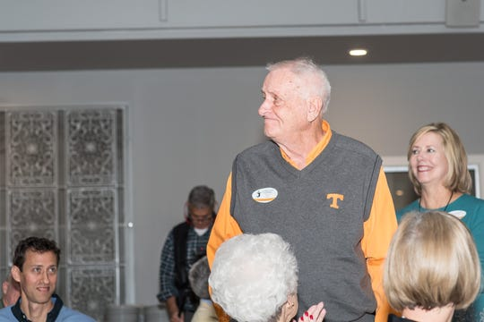 Bud Fields is recognized during the 50th year anniversary celebration of men's volleyball at UT.