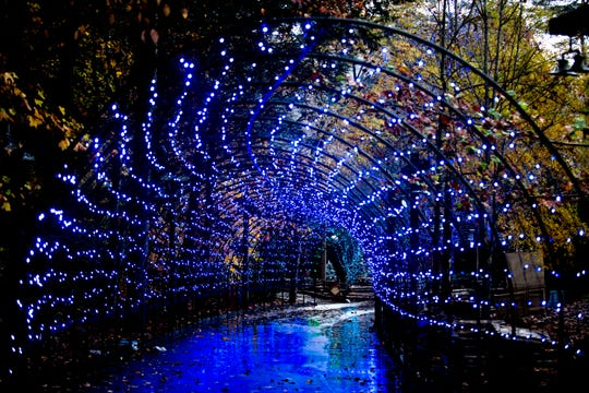 The Arctic Passage light tunnel during media day for a behind-the-scenes look of the Glacier Ridge light display at Dollywood in Pigeon Forge, Tennessee on Friday. Glacier Ridge features several new lighting displays, including a 50-ft. tall animated tree, the all new Arctic Passage and the Northern Lights.