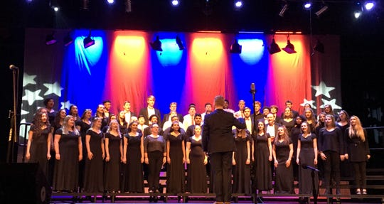 """""""God Bless the USA!"""" The mixed choirs of CHS are under the direction of Matt Parks. November 8, 2018."""
