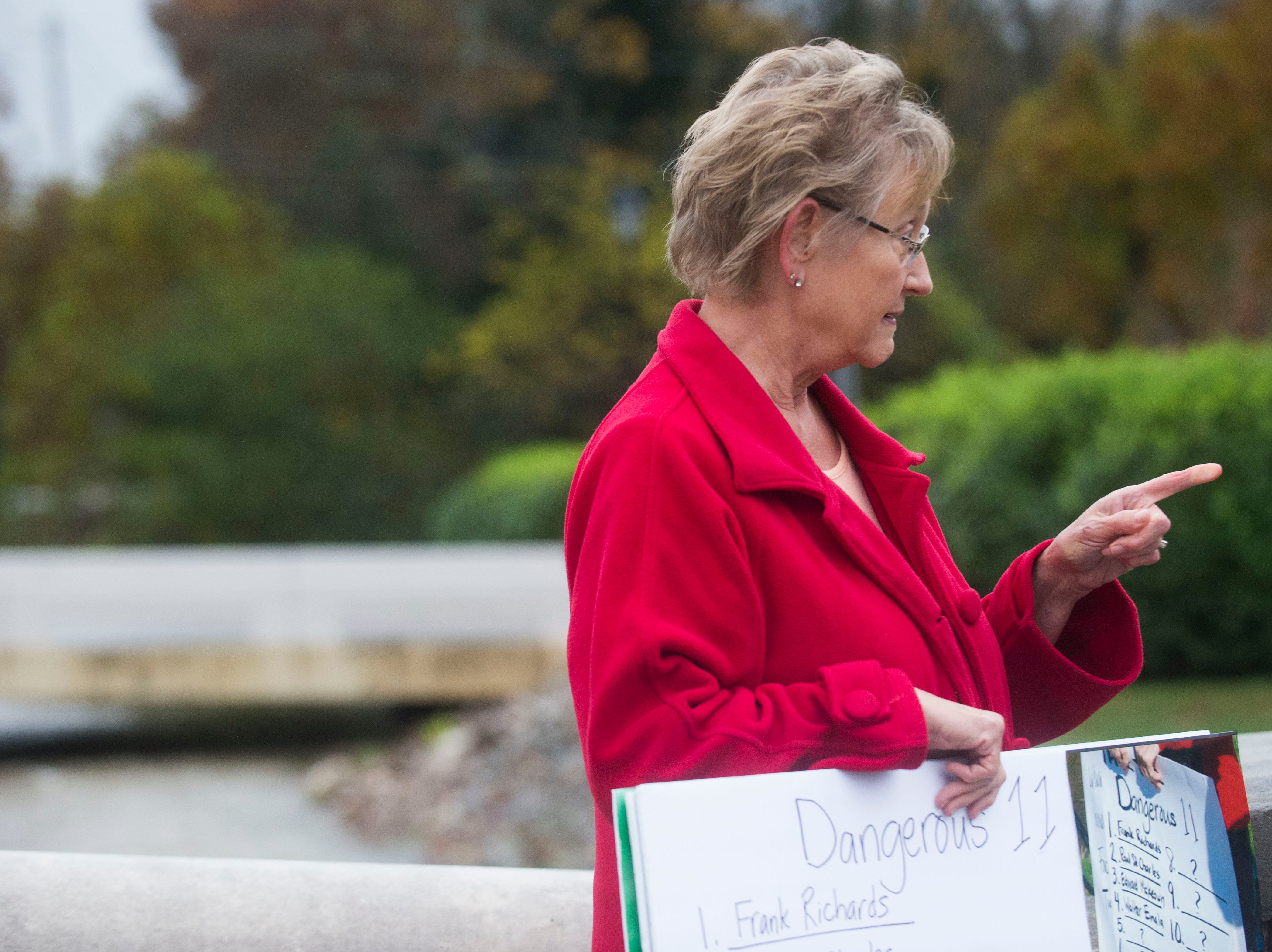 Susan Vance of the Survivors Network of those Abused by Priest, known as SNAP, speaks to the media about alleged Catholic clergy abuse in Tennessee, outside the Chancery Office of the Diocese of Knoxville, Friday, Nov. 9, 2018.