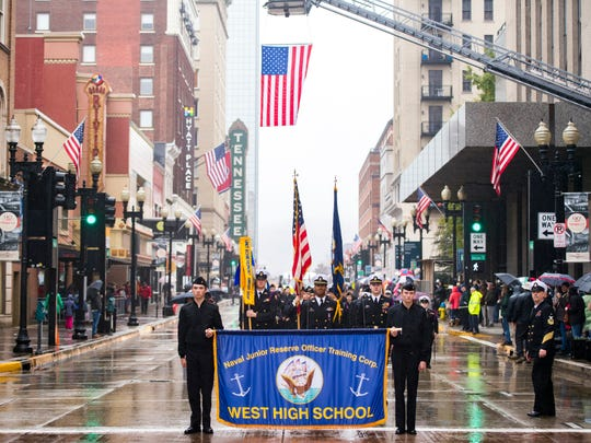 West High's Naval JROTC marches down Gay St. during Knoxville's 93rd Veterans Day Parade held in downtown Knoxville on Friday, November 9, 2018.