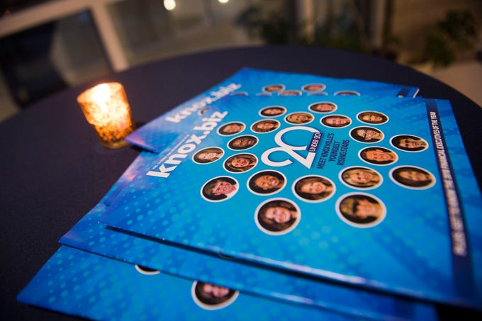 A Knox.biz magazine lays on a table at Knox.biz's 20 under 20 event at the Women's Basketball Hall of Fame Thursday, Nov. 8, 2018.