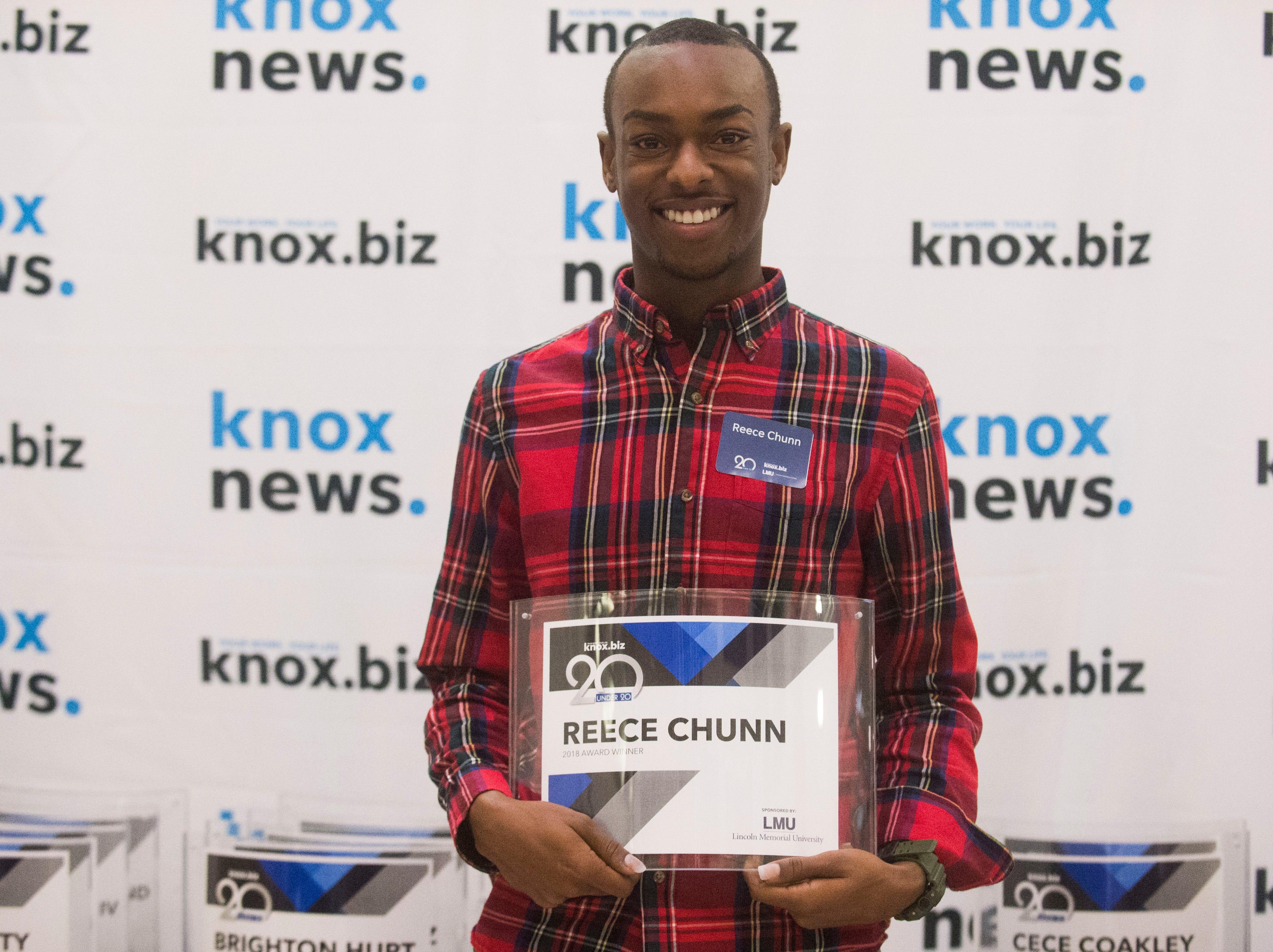 Reece Chunn, 20 under 20 award recipient.