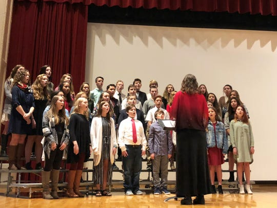 The Gresham Choral Ensemble performs at the Veterans Day Assembly, Nov. 9, 2018.