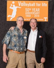 Don Crawley of Atlanta, left, and Earl Sharpe of Knoxville at the reunion.