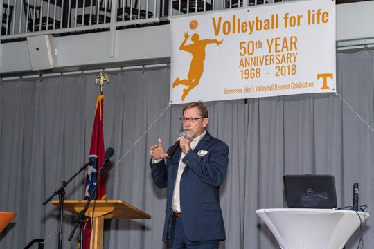 Kyle Pennington from McMinnville, TN speaks during the Tennessee Men's volleyball reunion.