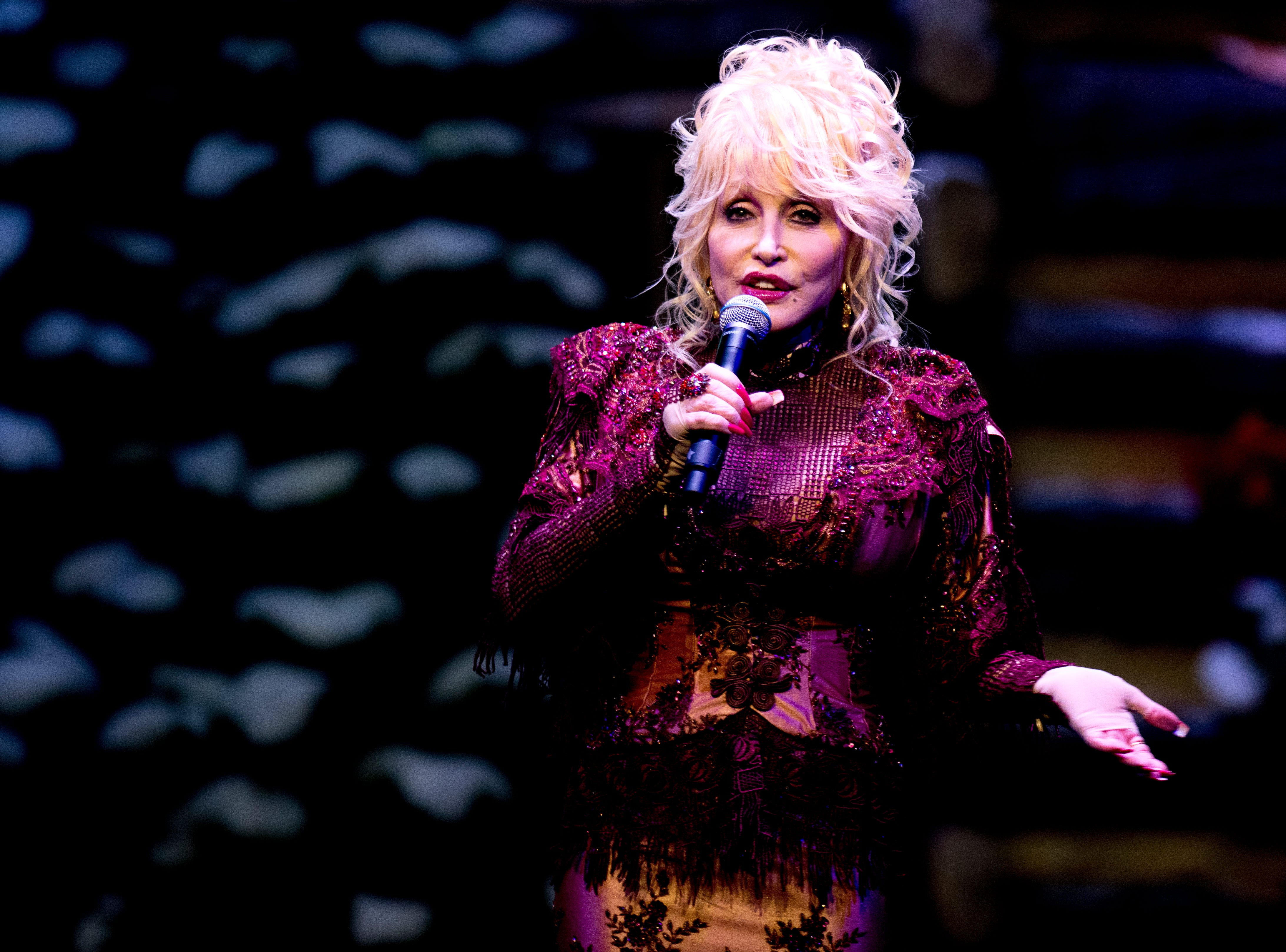 Dolly Parton welcomes visitors to the Christmas in the Smokies show at Dollywood in Pigeon Forge, Tennessee on Friday, November 9, 2018. Glacier Ridge features several new lighting displays, including a 50-ft. tall animated tree, the all new Arctic Passage and the Northern Lights.