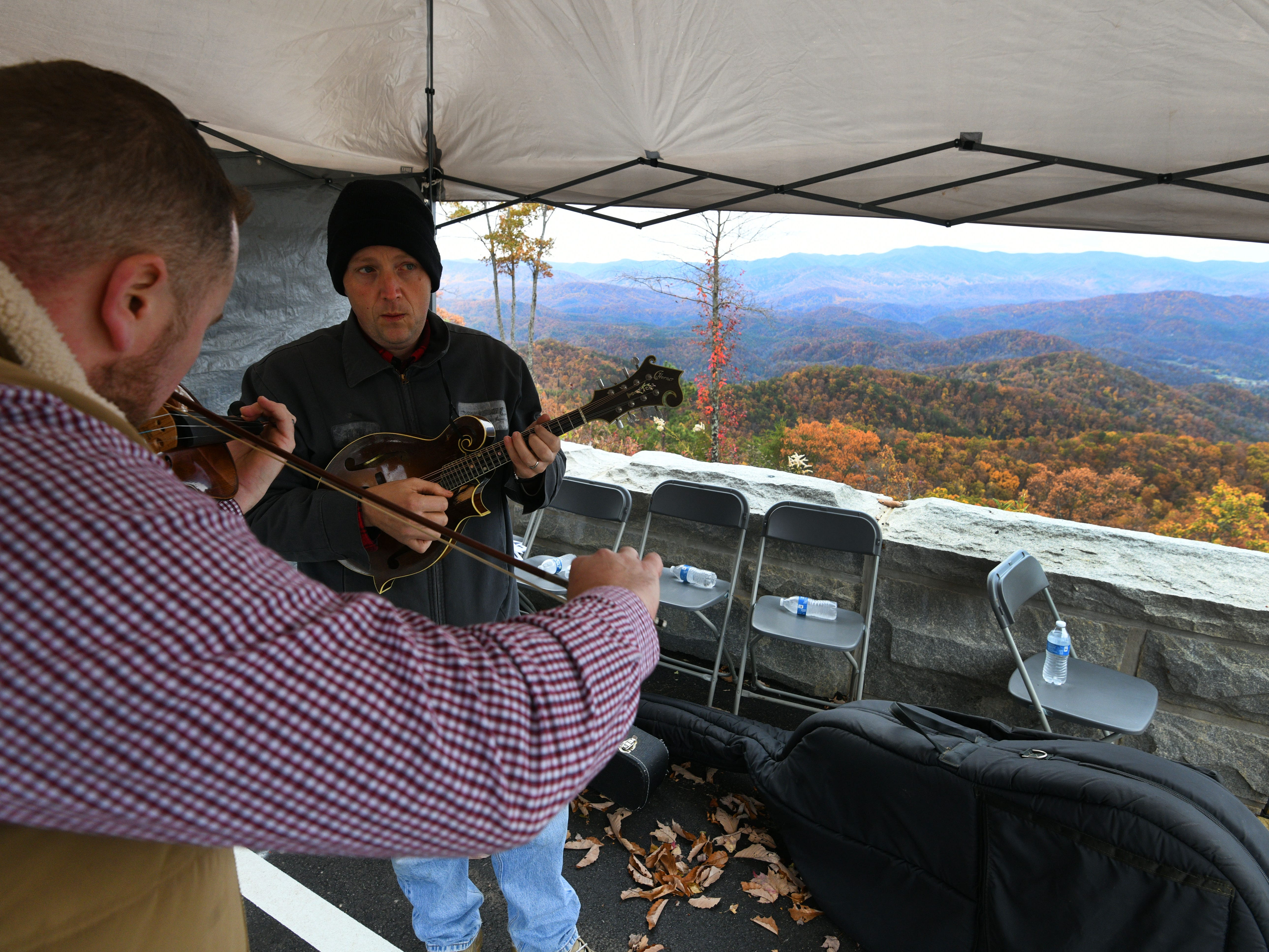 Andy Williams, left, and Anthony Bales with the trigger Star Travelers play for visitors as the National Park Service held a Community Day Thursday, Nov. 8, 2018 for the public to experience the bridges along the 1.65-mile section known as the 'Missing Link' before it opens to motorists and cyclists Saturday.