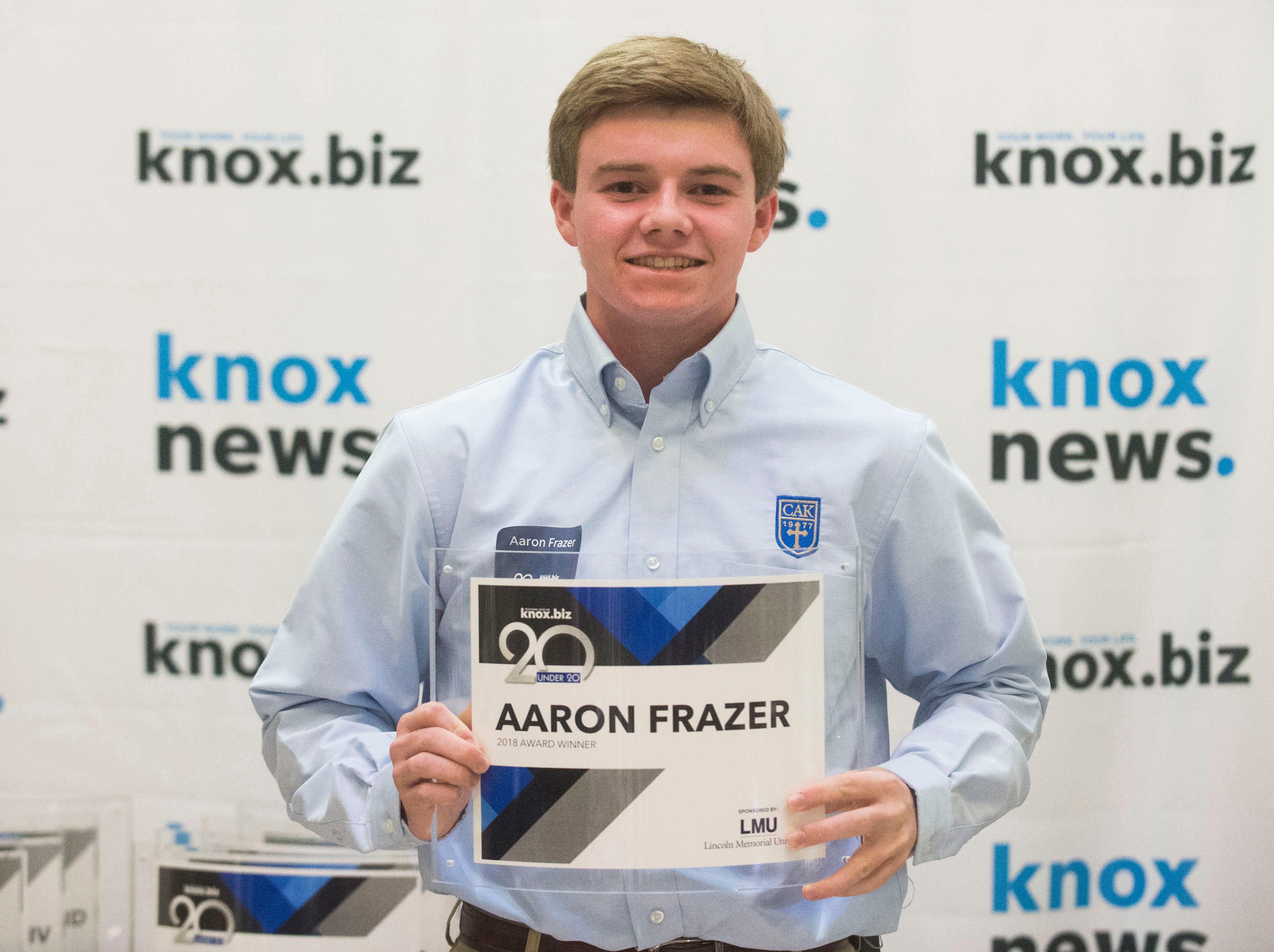 Aaron Frazer, 20 under 20 award recipient.