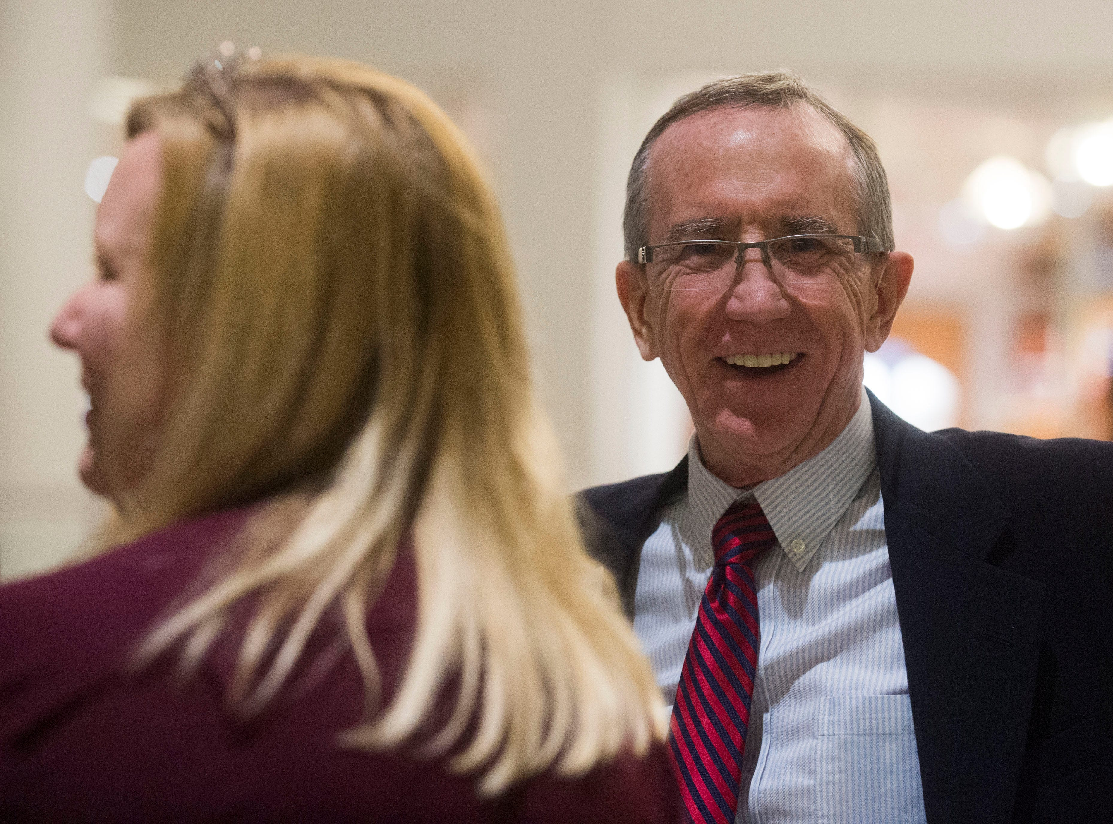 Executive editor of the Knoxville News Sentinel, Jack McElroy, smiles at Knox.biz's 20 under 20 event at the Women's Basketball Hall of Fame Thursday, Nov. 8, 2018.