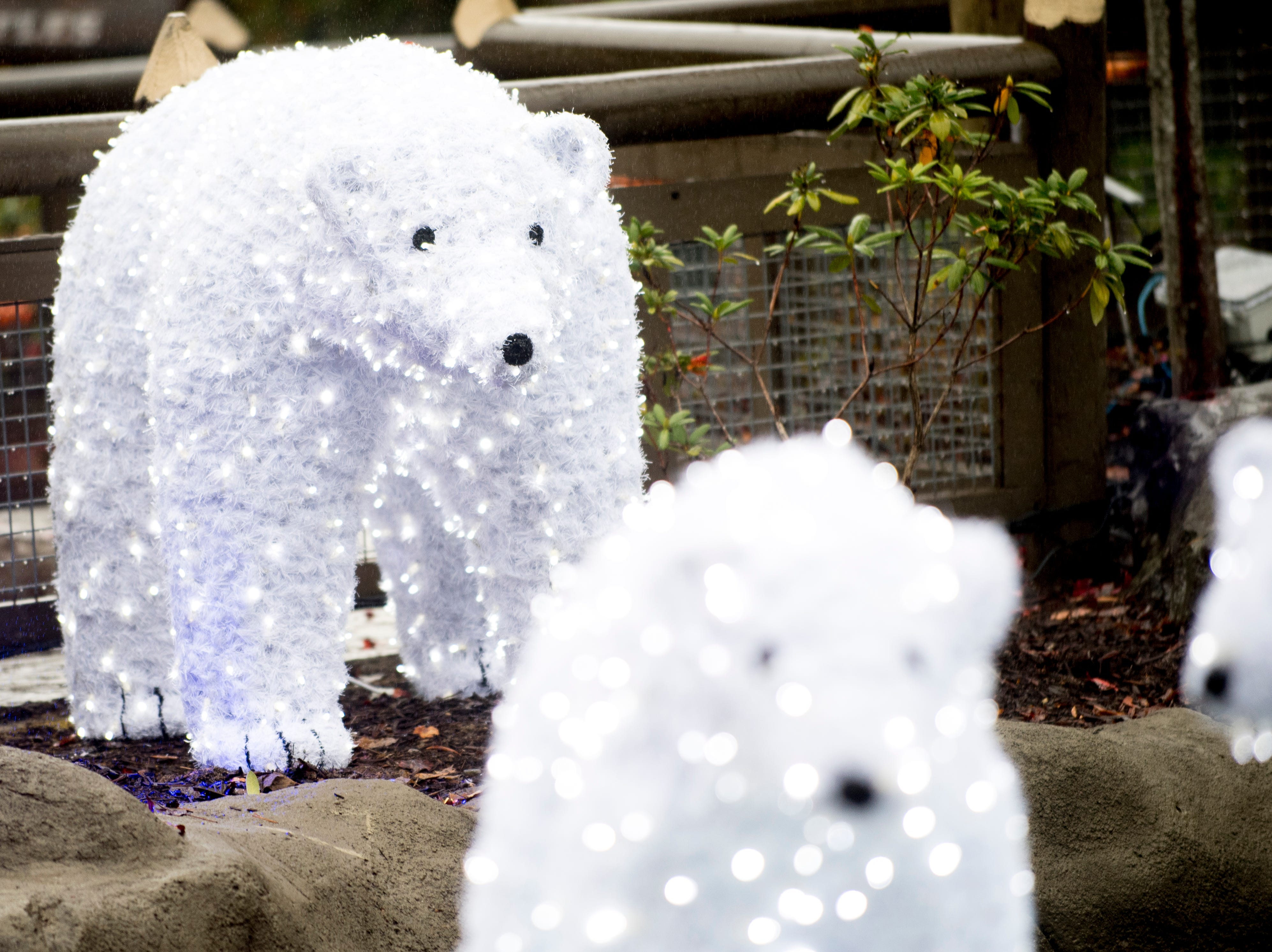 Illuminated polar bears welcome visitors during media day for a behind-the-scenes look of the Glacier Ridge light display at Dollywood in Pigeon Forge, Tennessee on Friday, November 9, 2018. Glacier Ridge features several new lighting displays, including a 50-ft. tall animated tree, the all new Arctic Passage and the Northern Lights.