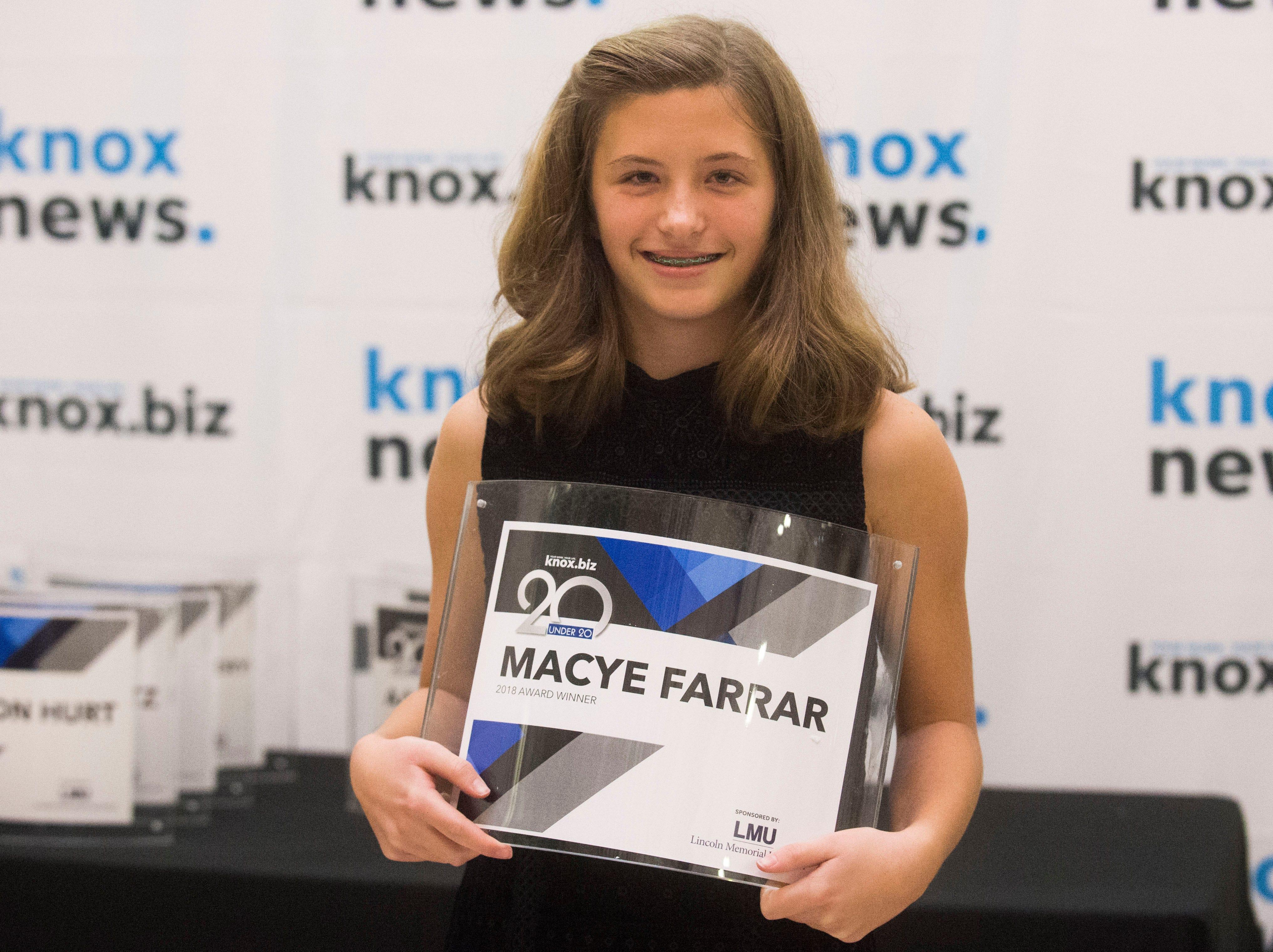 Macye Farrar, 20 under 20 award recipient.
