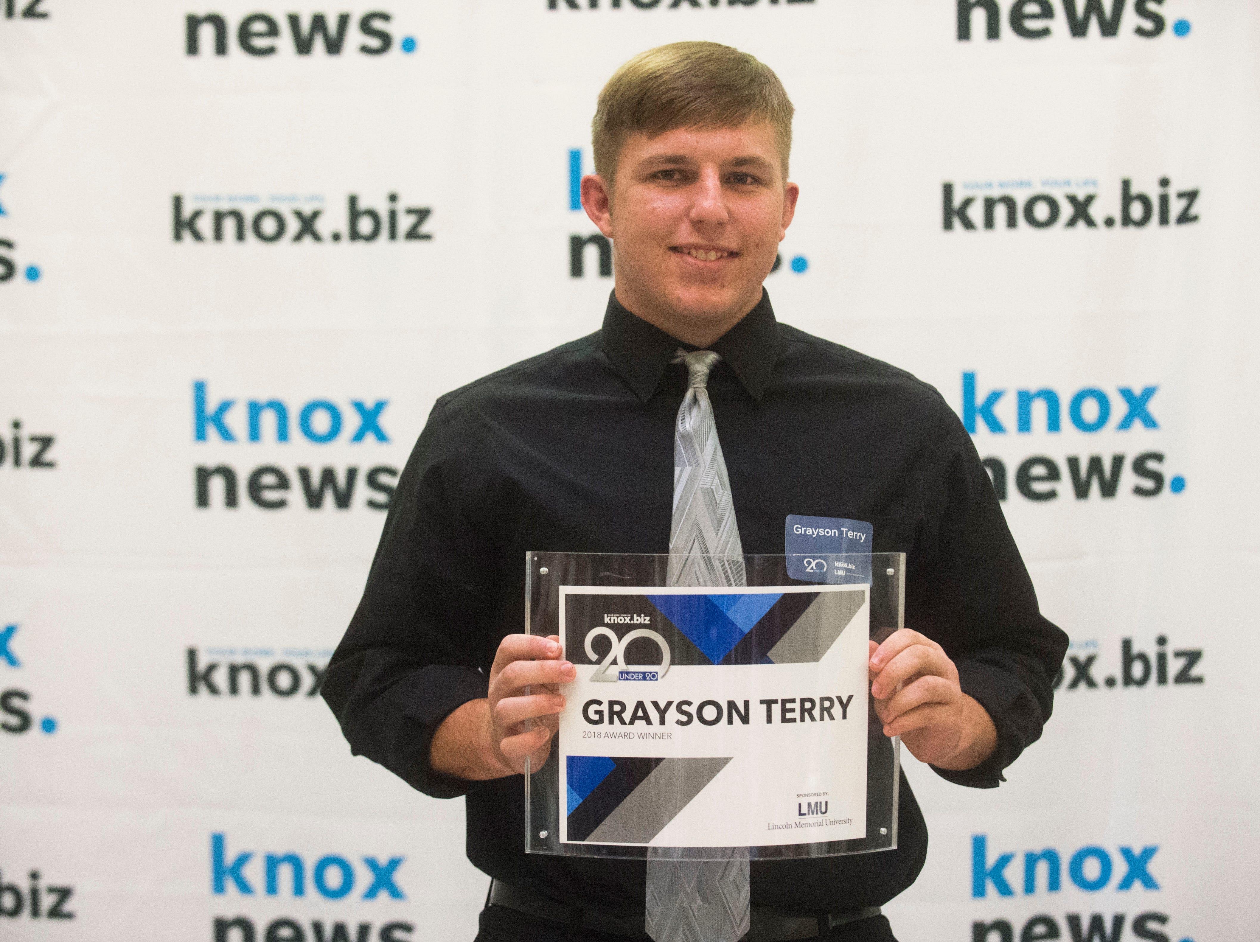 Grayson Terry, 20 under 20 award recipient.