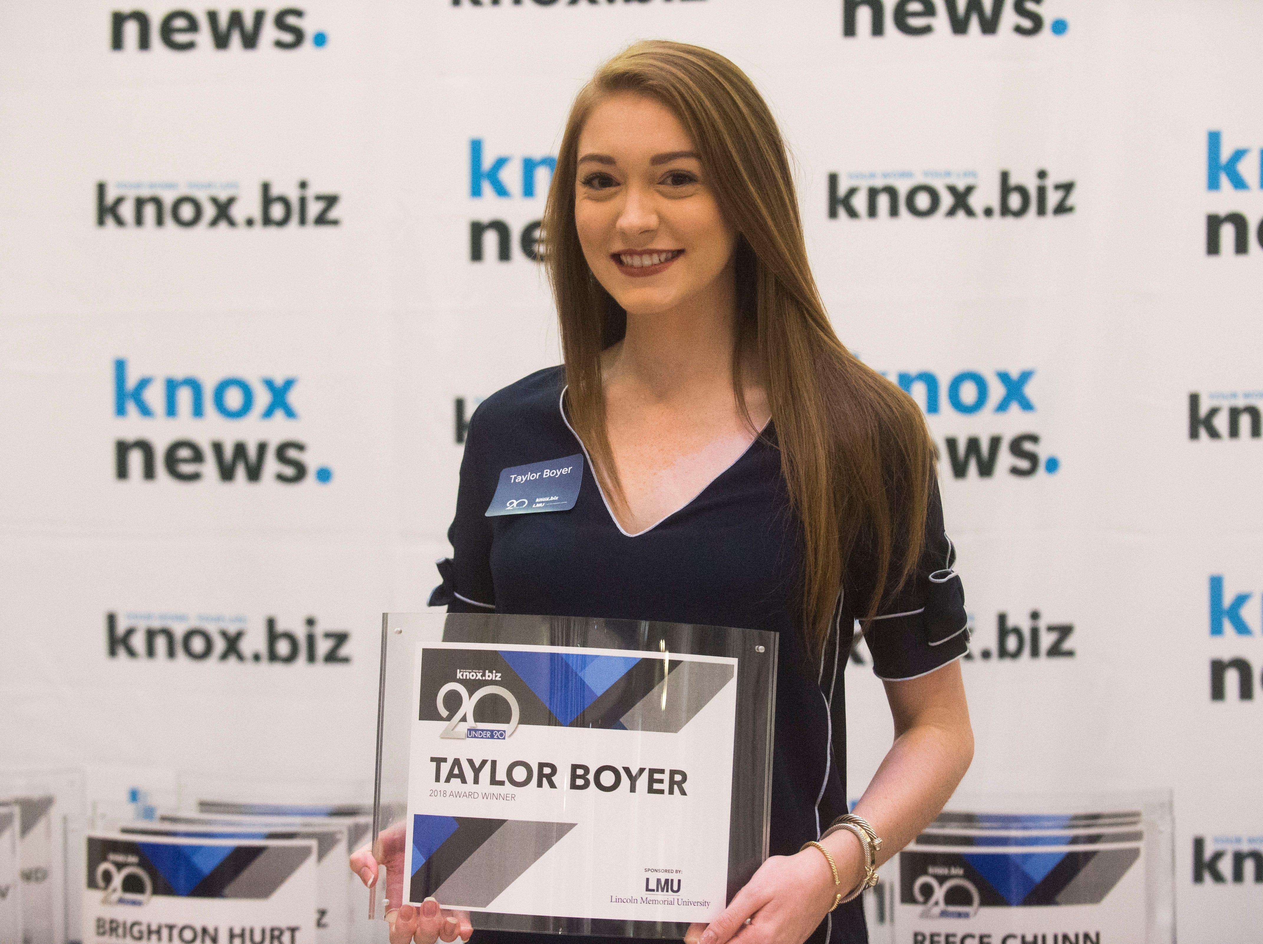 Taylor Boyer, 20 under 20 award recipient.