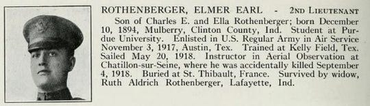 Elmer Rothenberger died in an accident in France during the war.