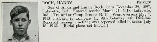 Harry Rock of Lafayette was killed in action on July 18, 1918. It is not known where he is buried.