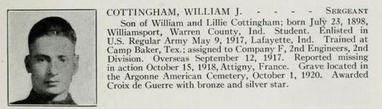 William J. Cottingham died in action on Oct. 15, 1918, less than a month before the armistice.