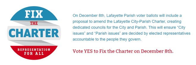 Fix the Charter is a group supporting a Lafayette Parish Home Rule Charter amendment.
