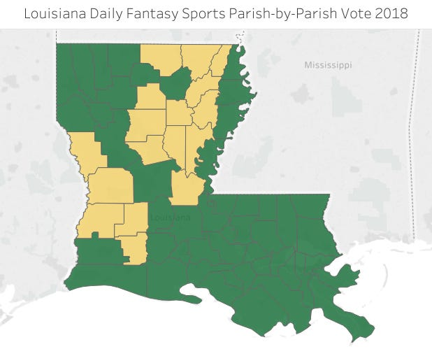 Color indicates how each parish voted in 2018 on Daily Fantasy Sports, with green representing a 'for' vote and gold representing an 'against' vote.
