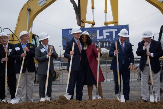 Lafayette Regional Airport hosted a ceremonial groundbreaking Thursday for its new terminal, expected to be completed by early 2022.