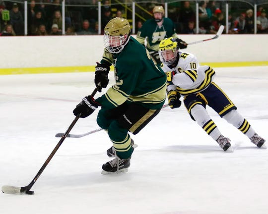 Howell's Dominic Rossi (2) received honorable mention in all-state hockey voting last season.