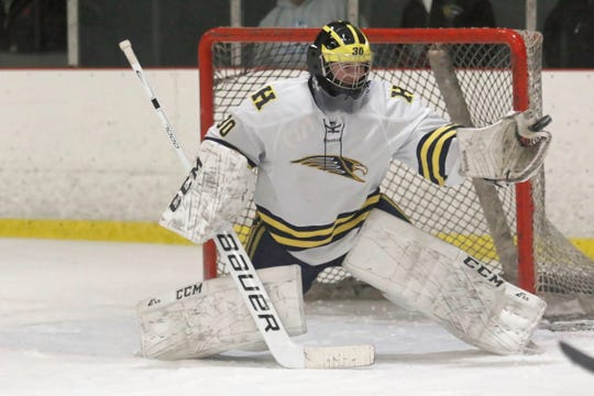 Hartland's Brett Tome secured the starting goaltending job for the playoffs and backstopped a state championship run.