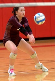 Charyl Stockwell's Theresa Kehn plays the volleyball during a regional final loss to Monroe St. Mary's on Thursday, Nov. 8, 2018.