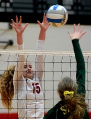 Charyl Stockwell's Jenna Vaske (15) tries to block a shot in a regional final loss to Monroe St. Mary's on Thursday, Nov. 8, 2018.