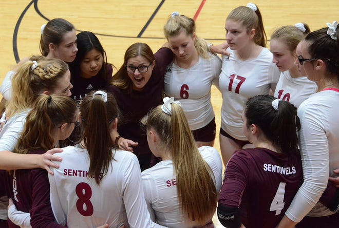 Charyl Stockwell volleyball coach Paula Gallentine talks to her team following a loss to Monroe St. Mary's in the regional final on Thursday, Nov. 8, 2018.