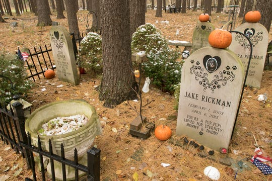 Plots at the Heavenly Acres Pet Cemetery vary from sunken markers in open ground to markers above ground in a wooded area, as shown Friday, Nov. 9, 2018.