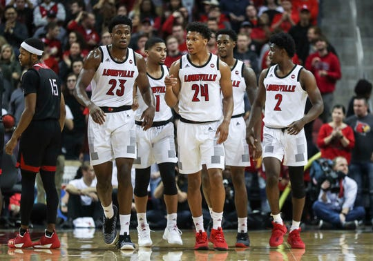 The Louisville squad walks up the court during the game against Nicholls State at the KFC Yum! Center Nov. 8, 2018.