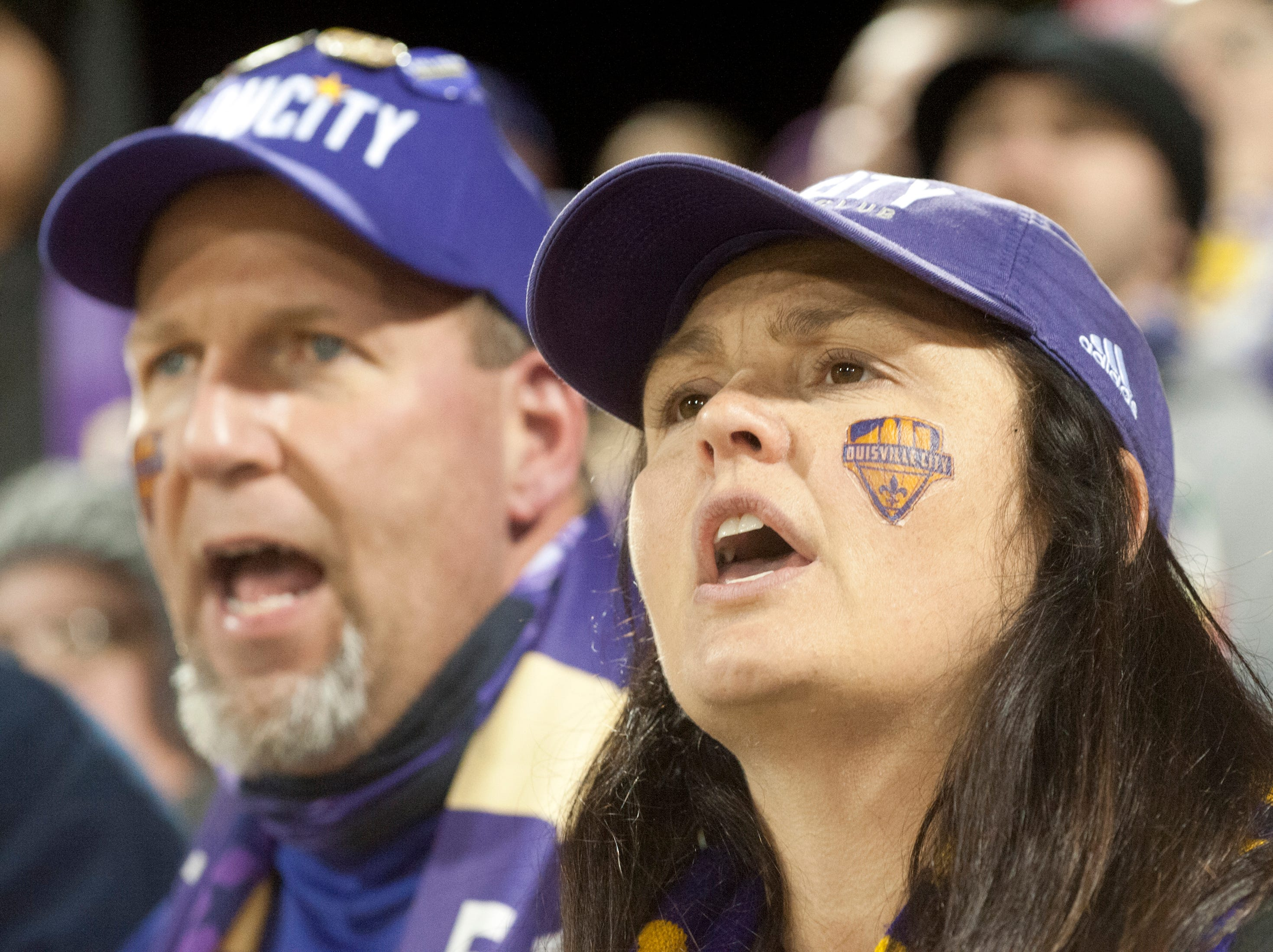 Philip and Mary Sapienza of Saint Matthews, show their concern during a penalty kick as Louisville City FC takes on the Phoenix Rising FC for the 2018 USL Cup. Mary is wearing a Louisville City face tattoo.November 08, 2018