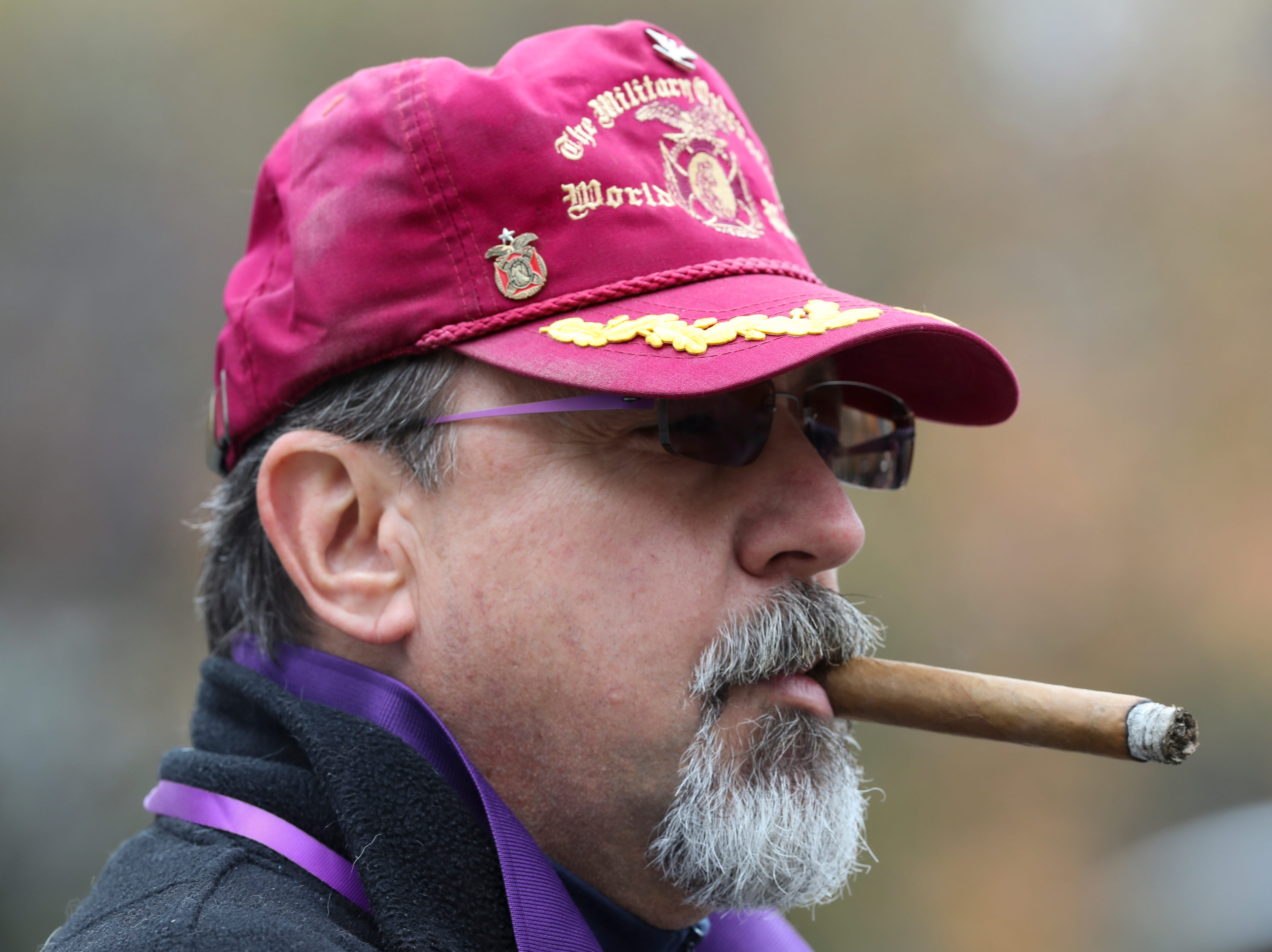 Christopher M. Smrt, Chapter 146 MOPH, watched as participants marched down Jefferson Street during the Veterans Day Parade.  Nov. 9, 2018