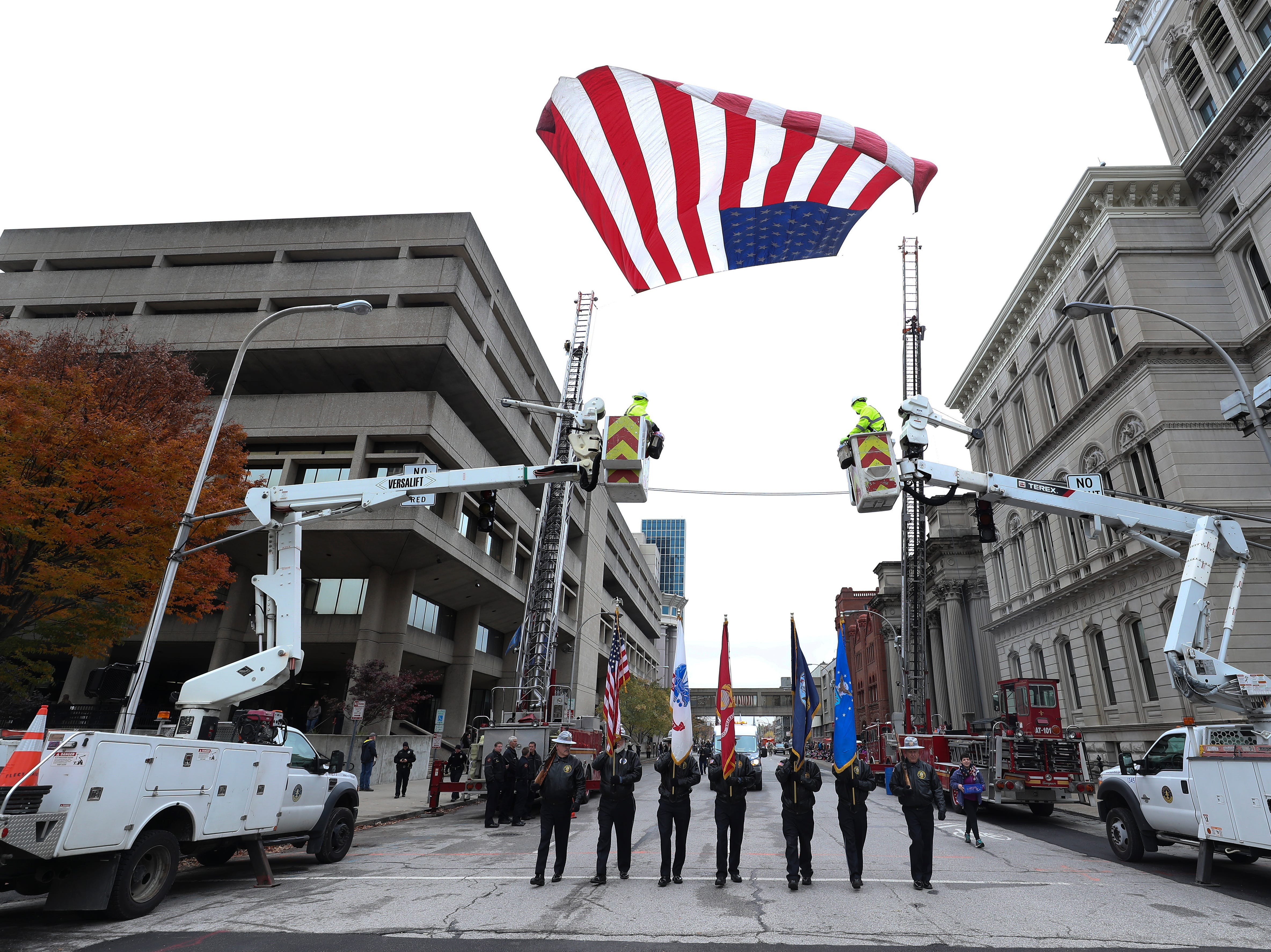 Participants marched down Jefferson Street during the Veterans Day Parade.  Nov. 9, 2018