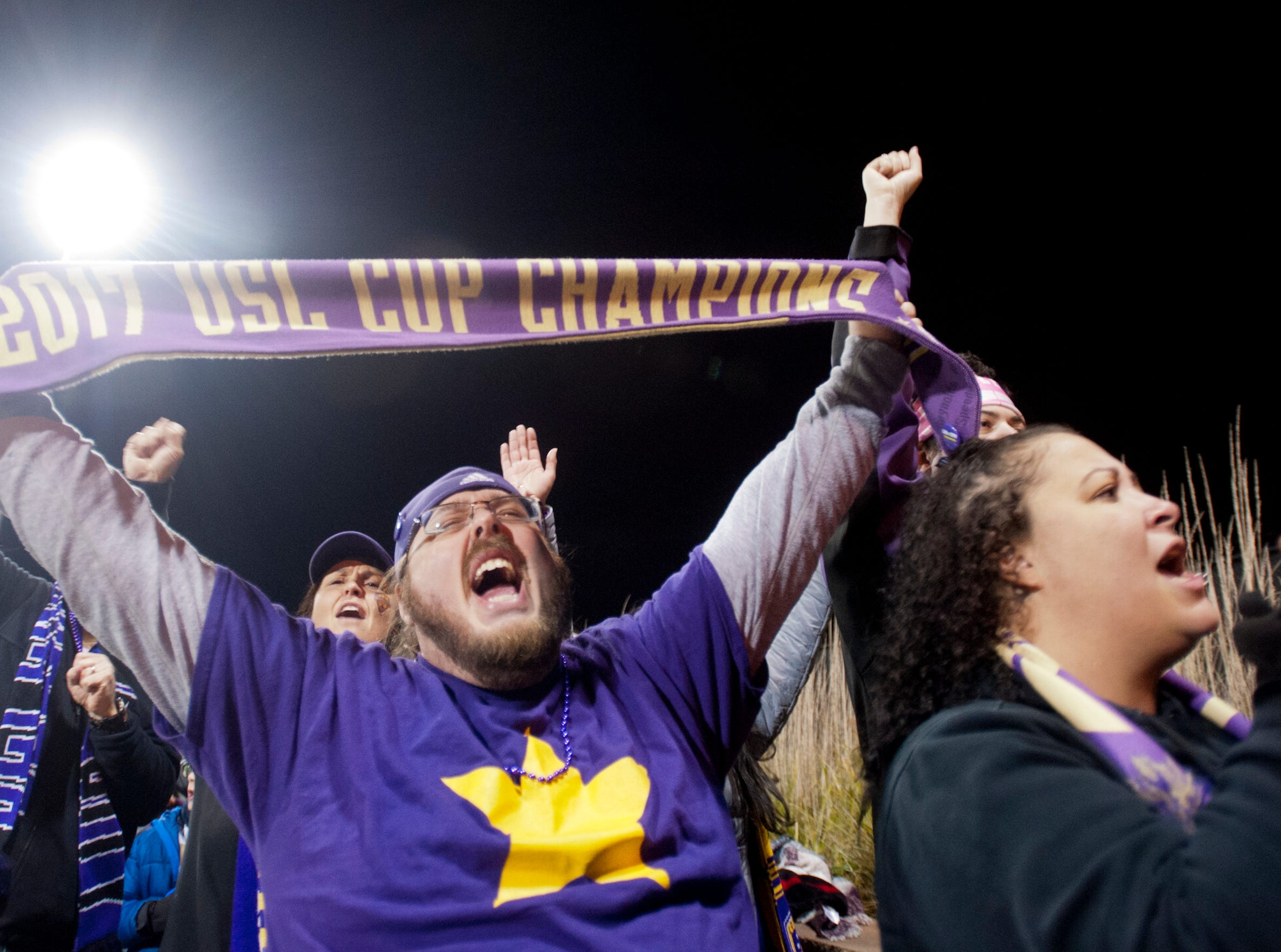 Daniel Benjamin  of Butchertown roots for the home team as Louisville City FC takes on the Phoenix Rising FC for the 2018 USL Cup.November 08, 2018