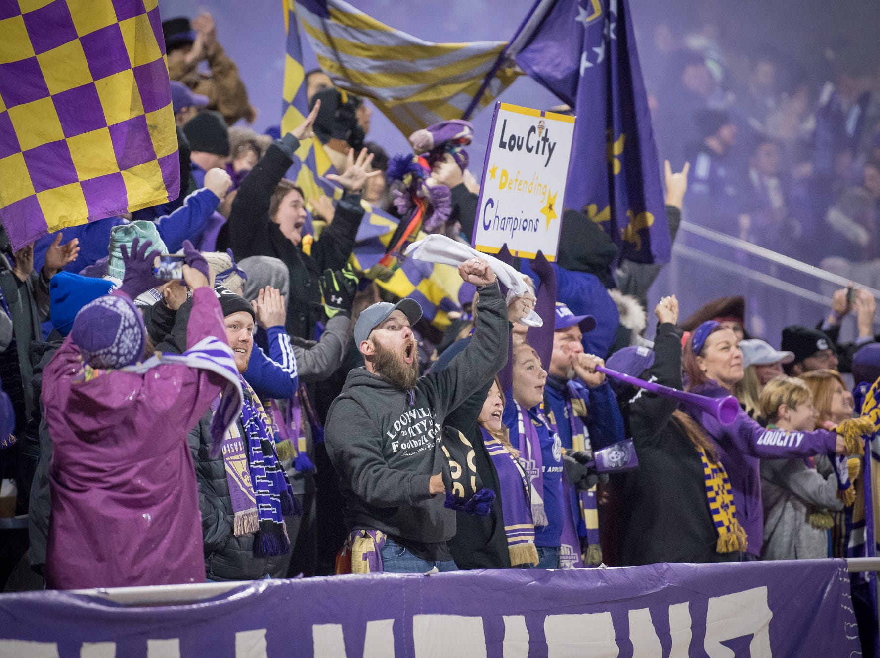 Louisville City FC fans celebrate forward Luke Spencer's (12) goal during the USL Cup final against the Phoenix Rising FC played at Lynn Stadium on the campus of the University of Louisville, Louisville, Ky., Thursday, Nov., 8, 2018.