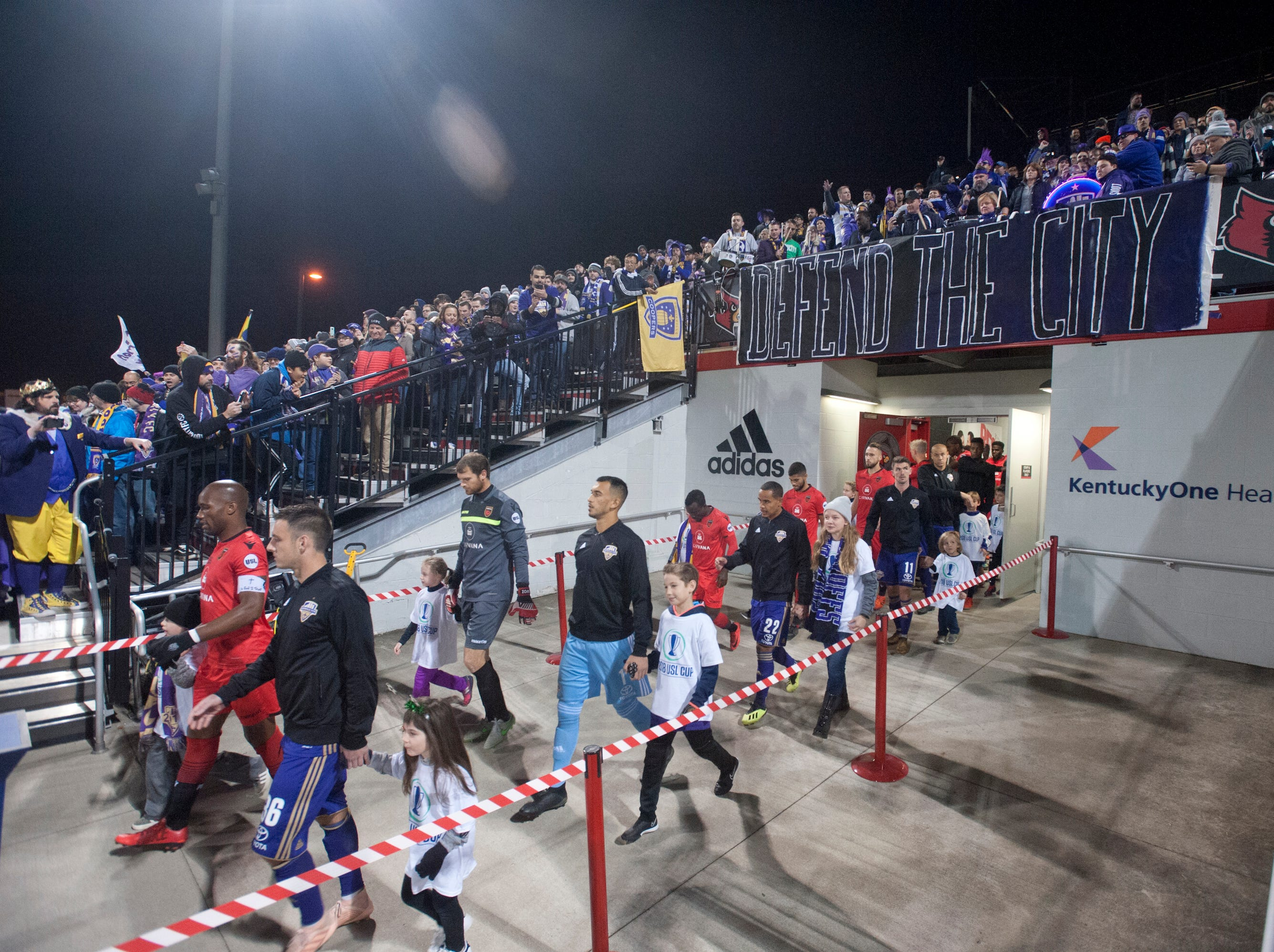 The Louisville City FC and Phoenix Rising FC takes the field accompanied by the children of season ticket holders.November 08, 2018