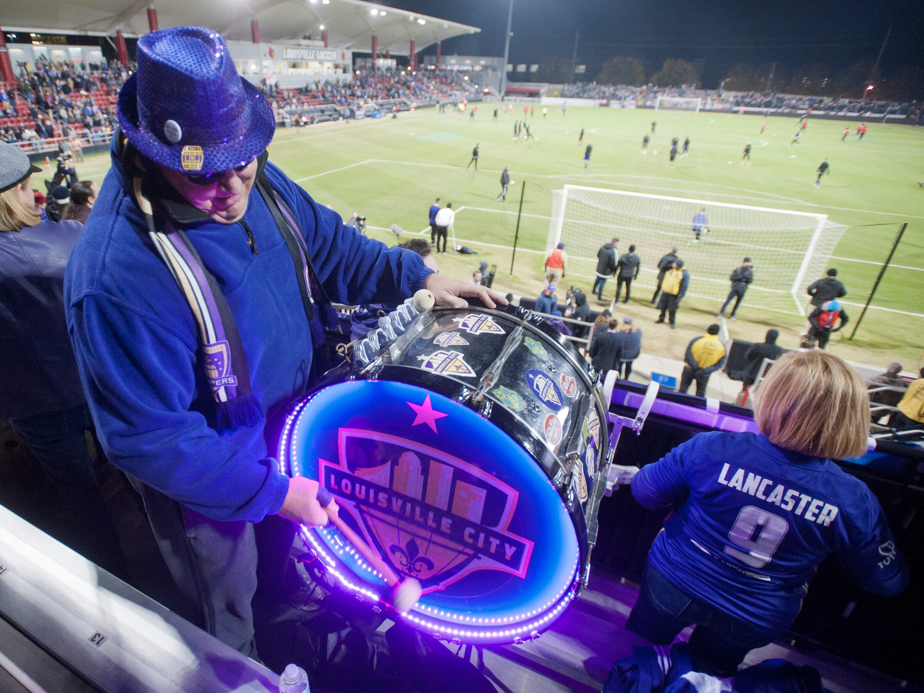 Chris Flint of Jeffersontown drums up some support for the nome team as Louisville City FC takes on the Phoenix Rising FC for the 2018 USL Cup.November 08, 2018
